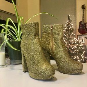 Madden Girl Gold glitter platforms booties
